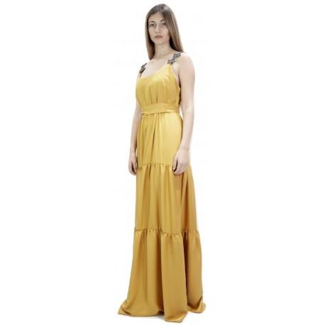 Moutaki 19.07.62 Ώχρα Φόρεμα