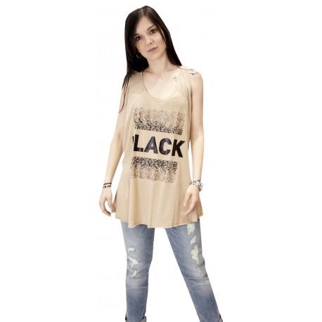 914973054f68 Lynne 141-510100 Μπλούζα. Αμάνικο βαμβακερό μπλουζάκι με τύπωμα