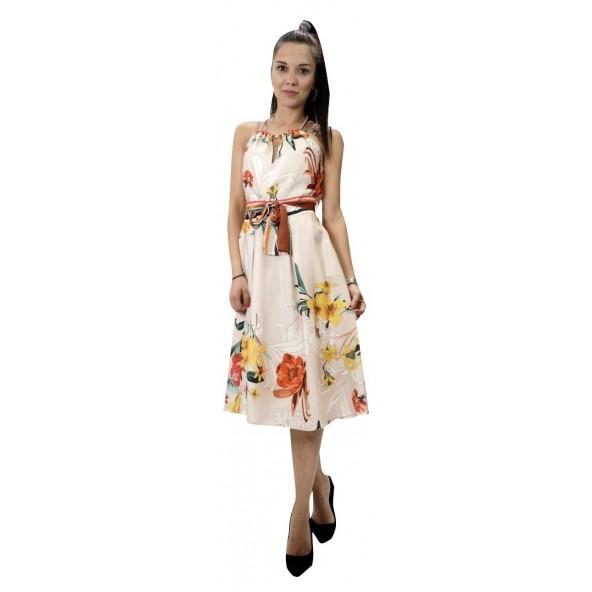 Enzzo 191457 φόρεμα μπεζ