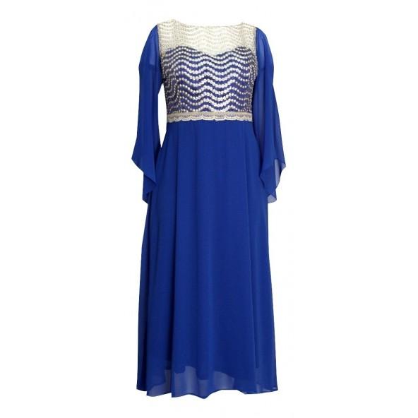 Queen Fashion 190065 φόρεμα μπλε ρουά