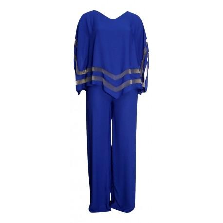 Queen Fashion 190407 ολόσωμη φόρμα μπλε ρουά