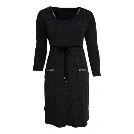 Ossigneno 219-6081 Φόρεμα σκούρο γκρί