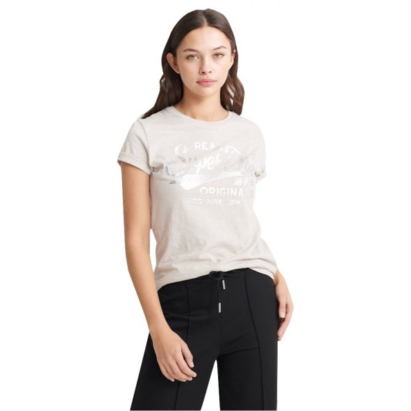 Superdry W1010026A Ν5Ν T-shirt silver cloud slub