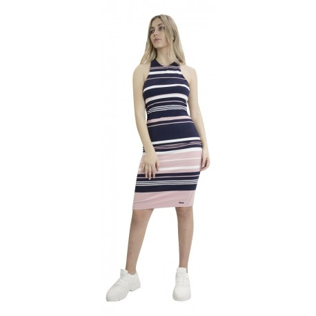 Superdry W8010082A 10R VERIGATED STRIPE MIDI DRESS