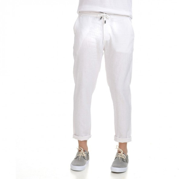 Biston 43-241-006 παντελόνι λινό λευκό