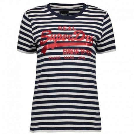 Superdry W1010037B-JKC VL SATIN STRIPE ENTRY TEE t-shirt navy stripe
