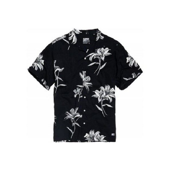 Superdry M4010004A-T7E Hawaiian Box s/s shirt Venice Flower Black