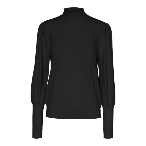 Vero moda 10232518 VMHAPPYBLOCK LS PUFF HIGHNECK BLOUSE GA black/plain