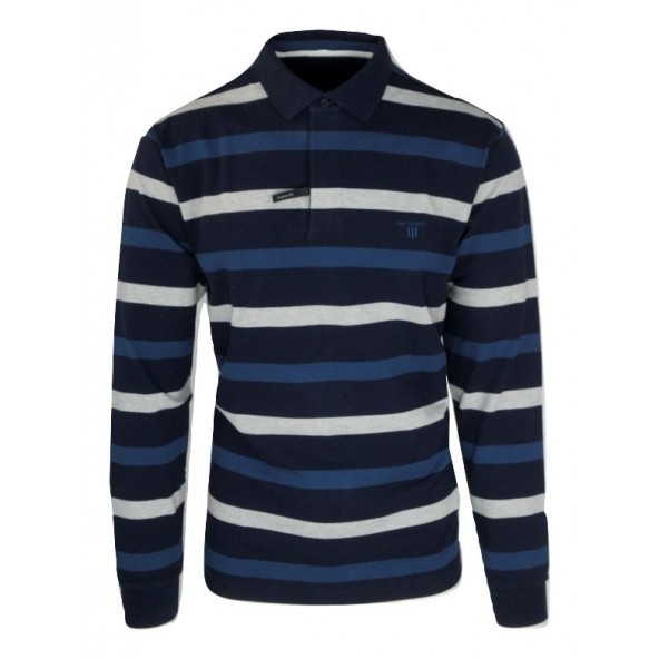 Navy and Green 24GE.856 MD BLUE/GREY/PETROL POLO ΜΠΛΟΥΖΑ