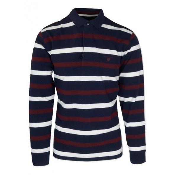 Navy and Green 24GE.856 MD BLUE/OFF/WINE POLO ΜΠΛΟΥΖΑ