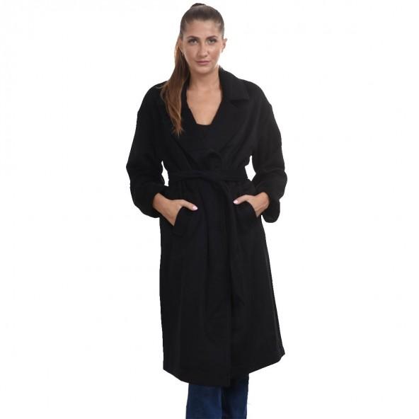 Biston 44-101-026 μακρύ παλτό μαύρο