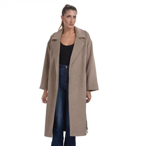 Biston 44-101-026 μακρύ παλτό μπεζ