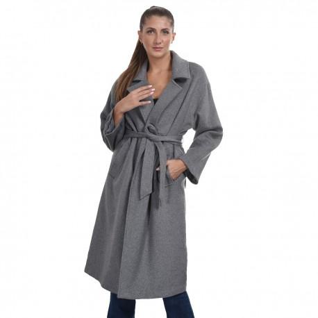 Biston 44-101-026 μακρύ παλτό Αν Γκρι