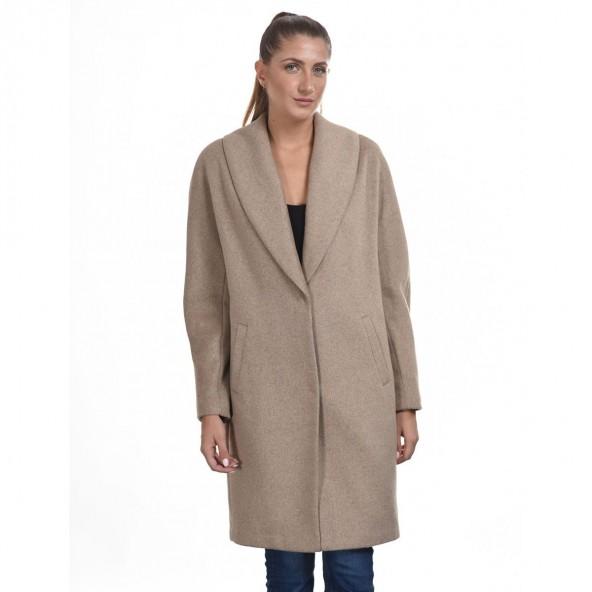 Biston 44-101-028 μακρύ παλτό μπεζ