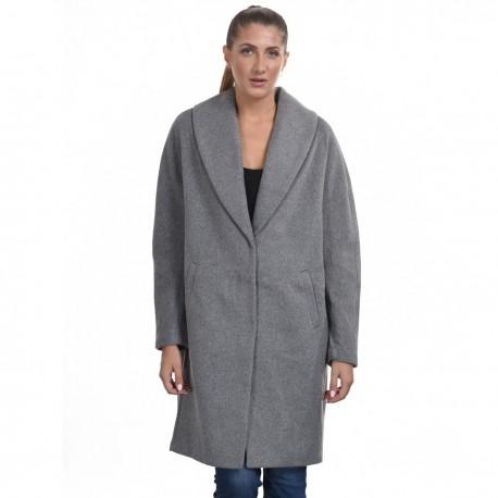 Biston 44-101-028 μακρύ παλτό ανοιχτο γκρι