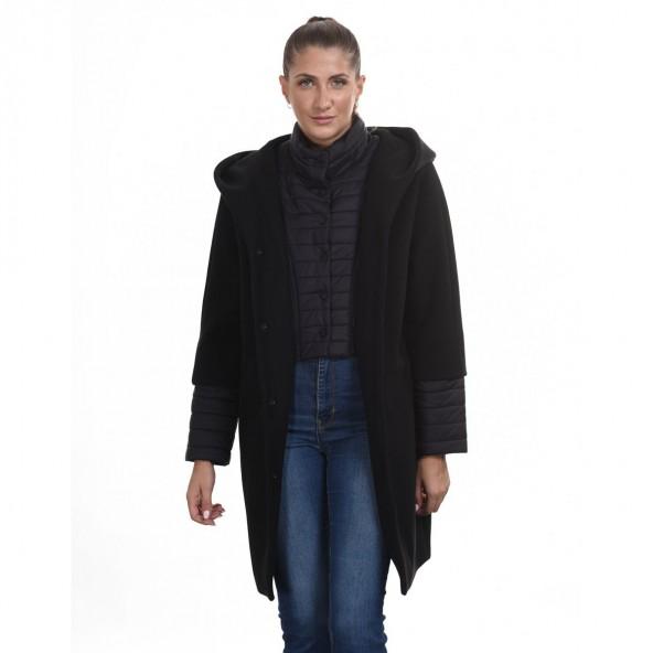 Biston 44-101-033 μακρύ παλτό μαύρο