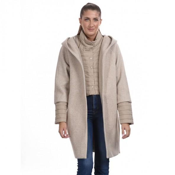 Biston 44-101-033 μακρύ παλτό μπεζ