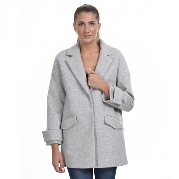 Biston 44-101-049 ντεμί παλτό ανοιχτό γκρι