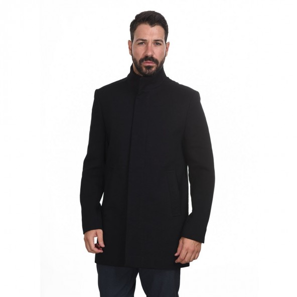 Biston 44-201-009 μακρύ παλτό μαύρο