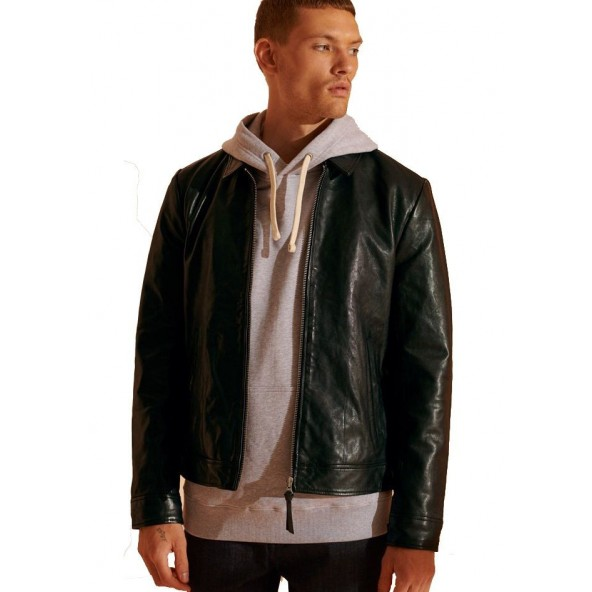 Superdry M5010409A-02A Indie Coach Leather Jacket