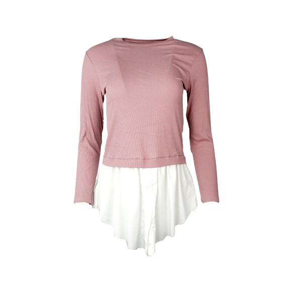 Mdsfashion 10042YG ΜΠΛΟΥΖΑ RIB dusty pink