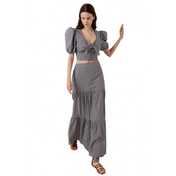 Desiree 02.34007 Καρό φούστα με βολάν