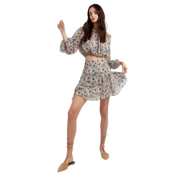 Desiree 02.34003 Φούστα φλοραλ με βολάν μπεζ