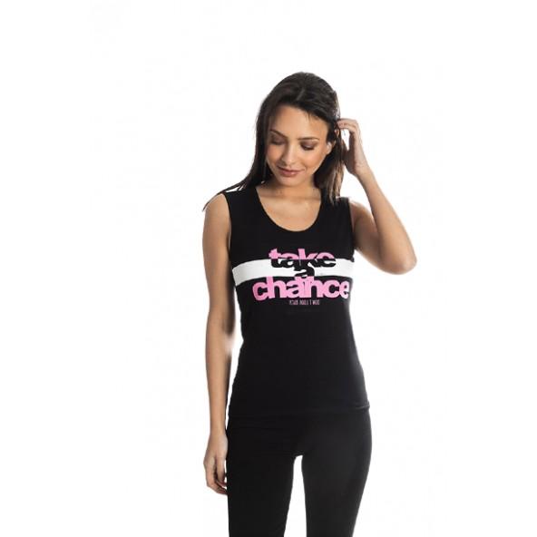 Paco 213143 μπλούζα αμάνικη μαύρη