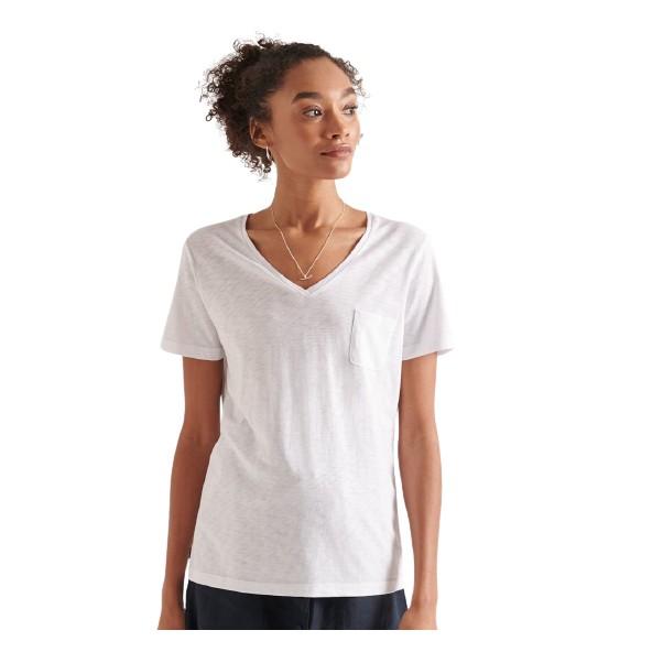 Superdry Pocket V neck tee W1010521A λευκή μπλούζα