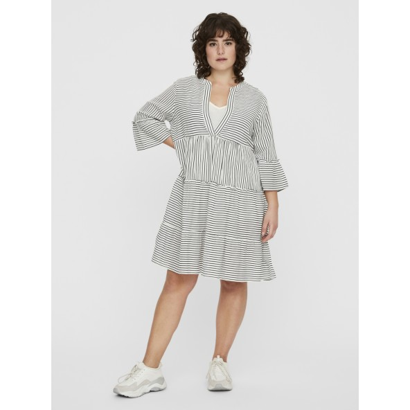 Vero moda 10229830 SHORT DRESS CURVE ΕΚΡΟΥ