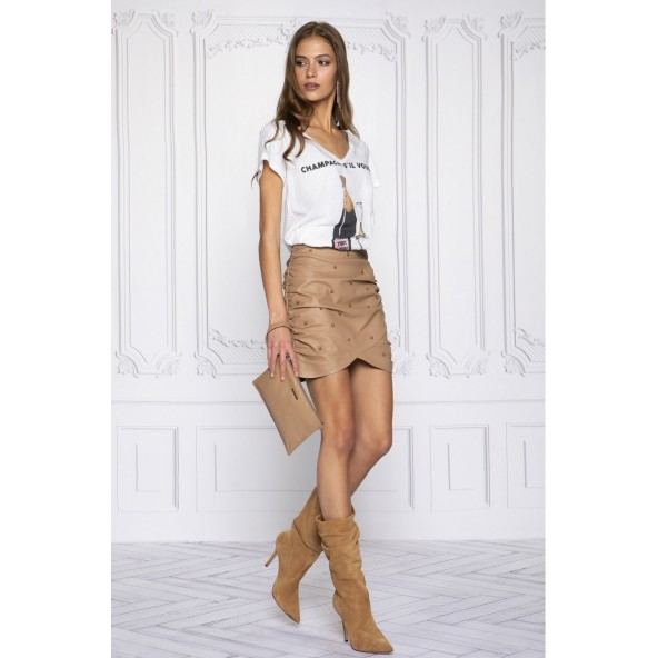 Peace & chaos S21304 BEIGE PEARL ECO LEATHER SKIRT