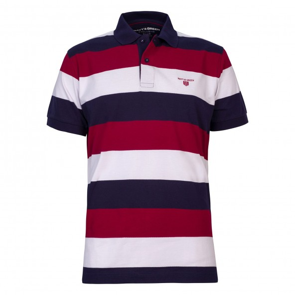 NAVY AND GREEN 24GE.863 polo DK NIGHT BLUE/RED
