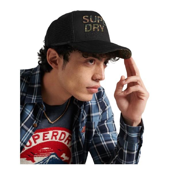 Superdry M9010017A 02A LINEMAN TRUCKER CAP BLACK