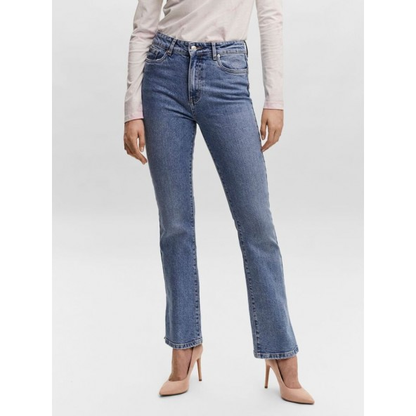 Vero moda 10255684 selma hr skinny flared slit jean light blue denim