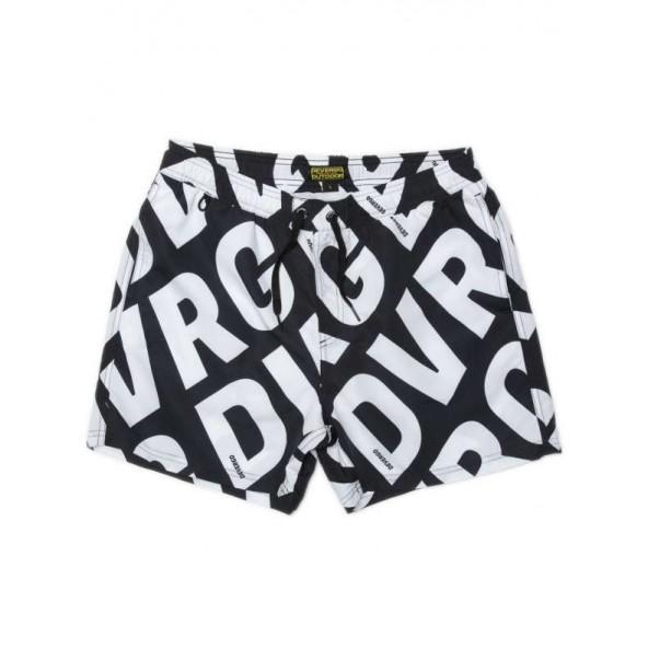 Devergo 1D21SS1053SP6000 161 Men beach shorts black/white