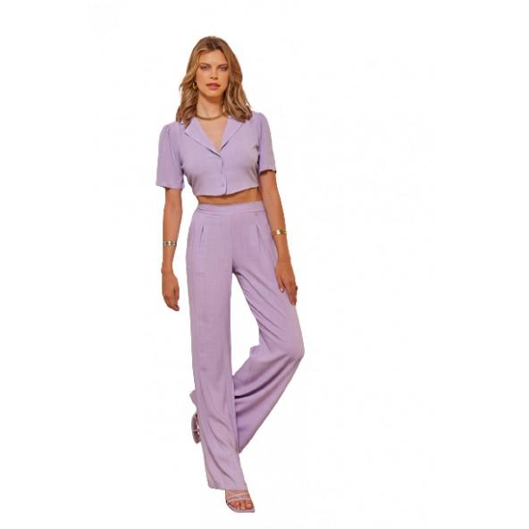 Enzzo 211235 crop top πουκάμισο lilac