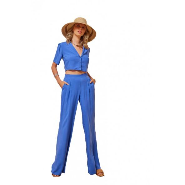 Enzzo 211235 crop top πουκάμισο blue royal