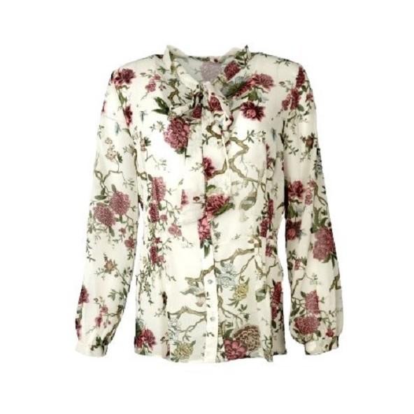 Mdsfashion DC0333-60193 πουκαμισο φλοραλ μπεζ