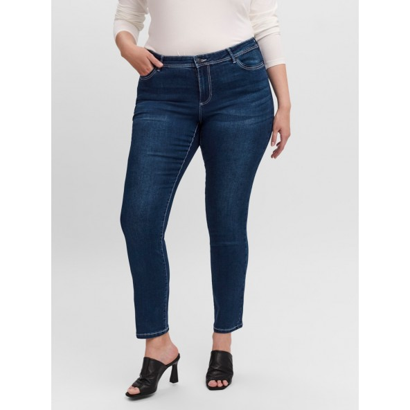 Vero moda 10249886 Παντελόνι τζιν Curve dark blue denim