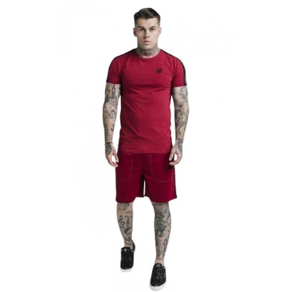 SikSilk SS-17961 shadow straight hem gym tee deep red