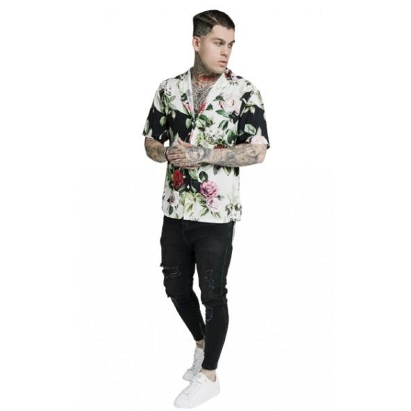 SikSilk SS-17506 floral pixel high collar resort shirt black