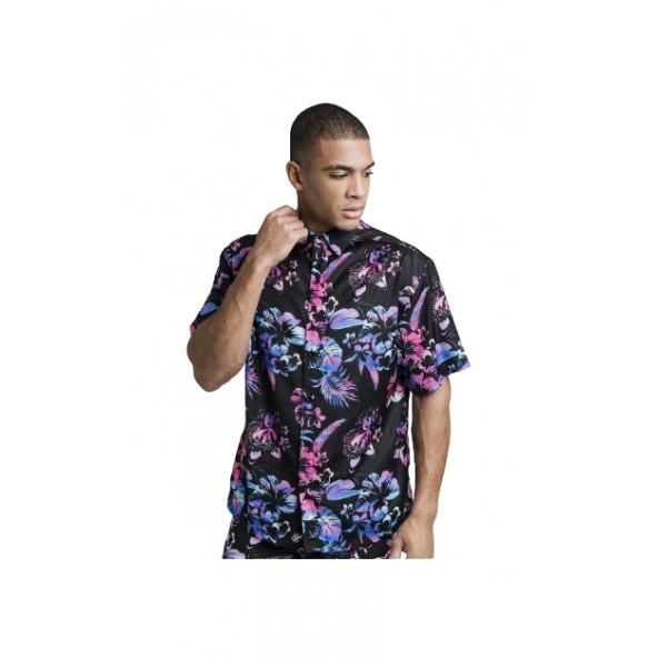SikSilk SS-19324 Hawaii Resort Shirt - Black Tie Dye Hawaii