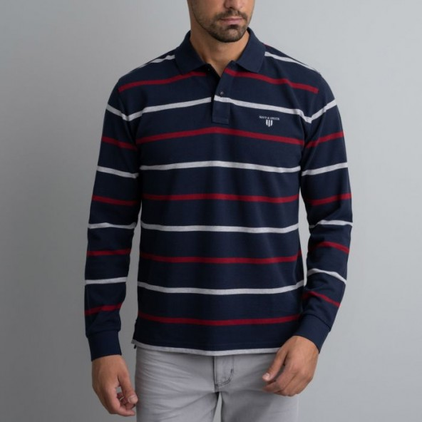 Navy & green 24GE.887 polo blue/red/grey